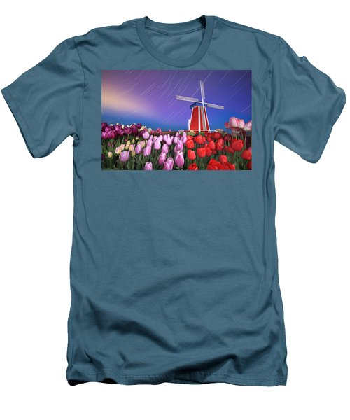 Men's T-Shirt (Slim Fit) featuring the photograph Star Trails Windmill And Tulips by William Lee