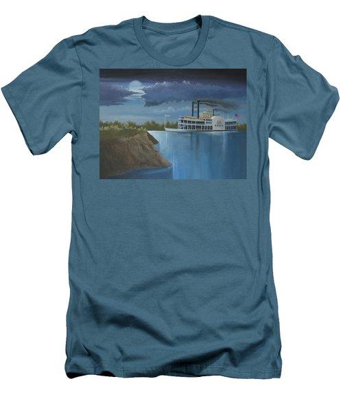 Steamboat On The Mississippi Men's T-Shirt (Slim Fit) by Stuart Swartz