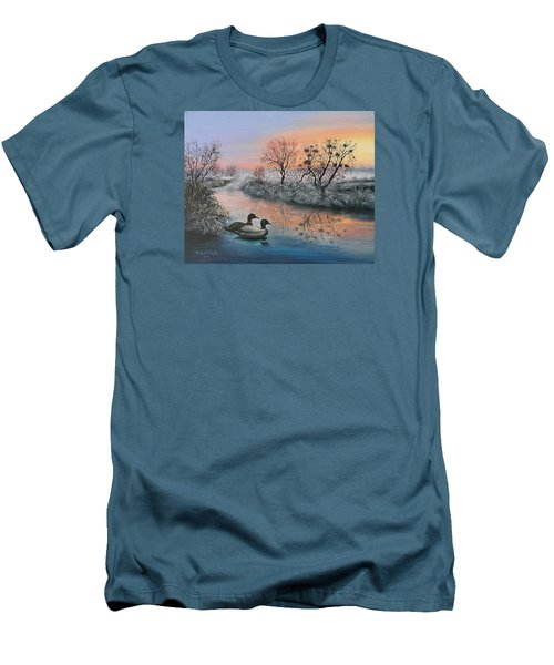 Men's T-Shirt (Slim Fit) featuring the painting Still Beauty by Vesna Martinjak