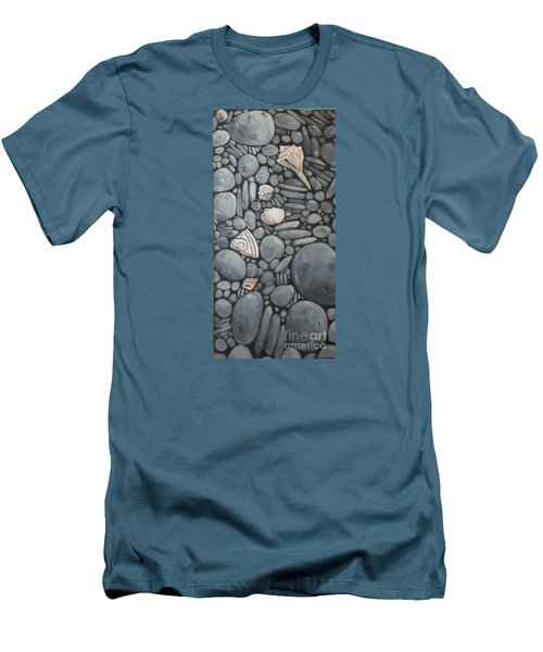 Stone Beach Keepsake Rocky Beach Shells And Stones Men's T-Shirt (Slim Fit) by Mary Hubley