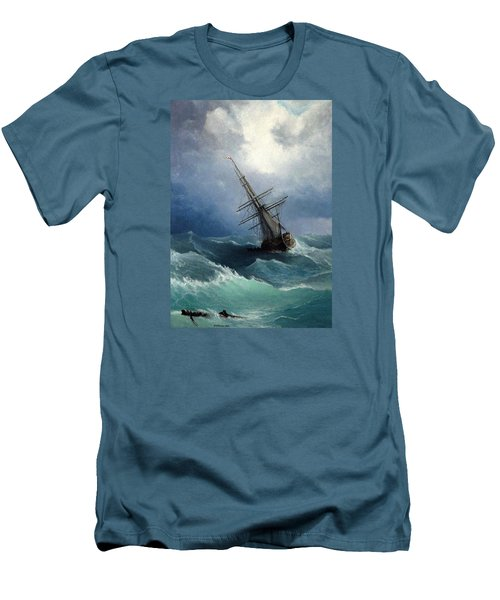 Men's T-Shirt (Slim Fit) featuring the painting Storm by Mikhail Savchenko