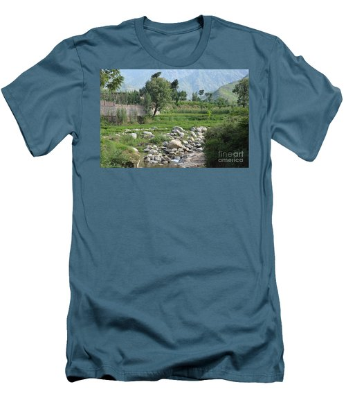 Stream Trees House And Mountains Swat Valley Pakistan Men's T-Shirt (Slim Fit) by Imran Ahmed