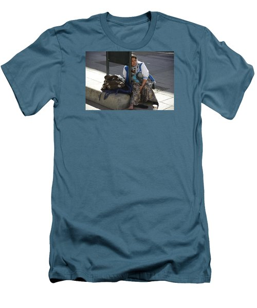 Men's T-Shirt (Slim Fit) featuring the photograph Street People - A Touch Of Humanity 10 by Teo SITCHET-KANDA