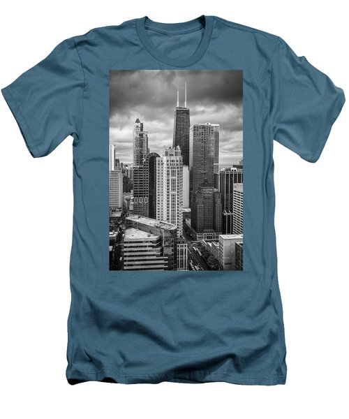 Streeterville From Above Black And White Men's T-Shirt (Slim Fit) by Adam Romanowicz