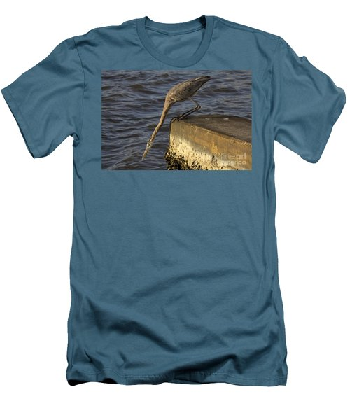 Men's T-Shirt (Slim Fit) featuring the photograph Stretch - Great Blue Heron by Meg Rousher