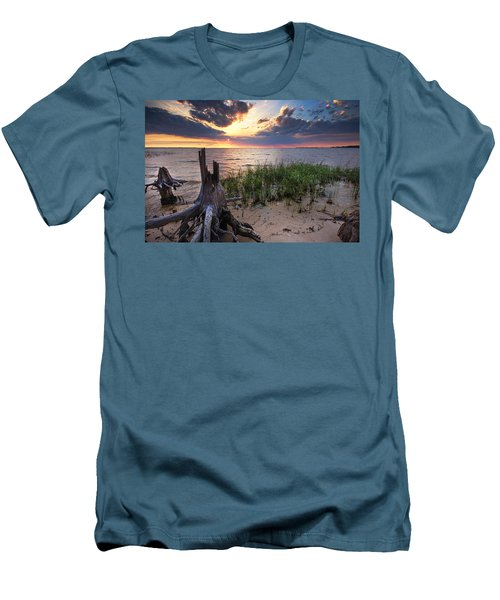Stumps And Sunset On Oyster Bay Men's T-Shirt (Slim Fit) by Michael Thomas