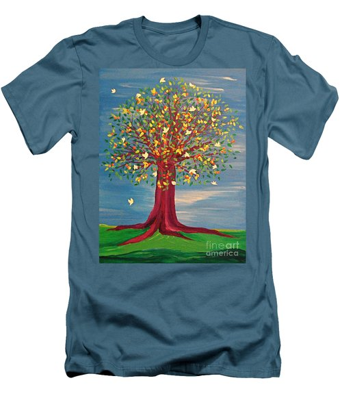 Men's T-Shirt (Slim Fit) featuring the painting Summer Fantasy Tree by First Star Art