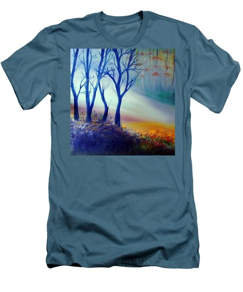 Men's T-Shirt (Slim Fit) featuring the painting Sun Ray In Blue  by Lilia D
