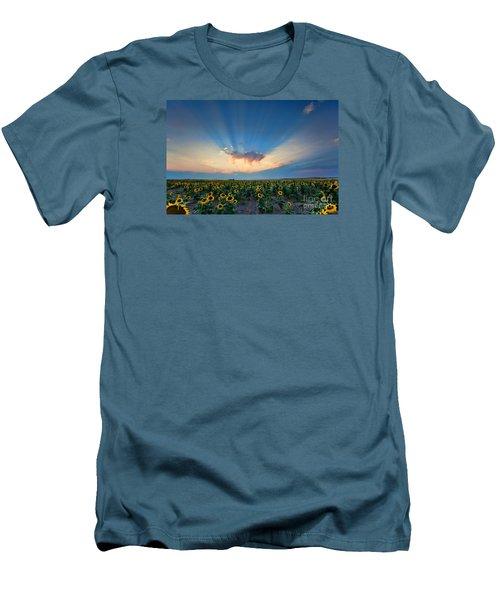 Sunflower Field At Sunset Men's T-Shirt (Slim Fit) by Jim Garrison