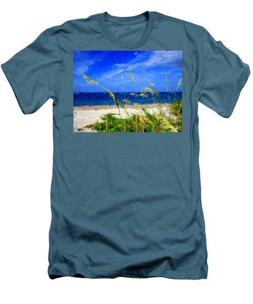 Men's T-Shirt (Slim Fit) featuring the digital art Sunlit Beachgrass by Anthony Fishburne