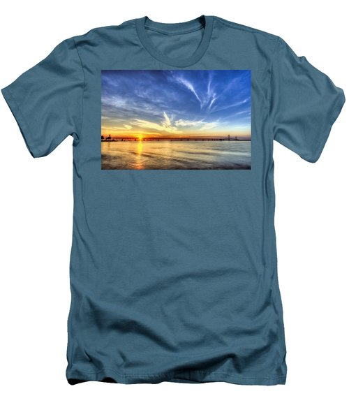 Sunset Mackinac Bridge Men's T-Shirt (Athletic Fit)