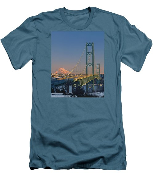 1a4y20-v-sunset On Rainier With The Tacoma Narrows Bridge Men's T-Shirt (Athletic Fit)