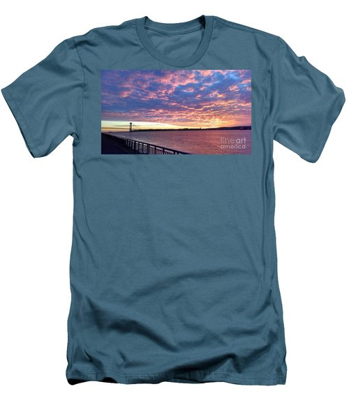 Sunset Over Verrazano Bridge And Narrows Waterway Men's T-Shirt (Slim Fit) by John Telfer