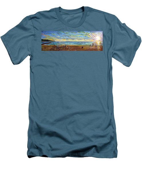 Sunset Volleyball At Old Silver Beach Men's T-Shirt (Slim Fit) by Rita Brown