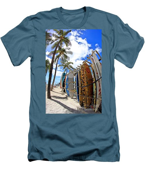 Surf And Sun Waikiki Men's T-Shirt (Slim Fit) by DJ Florek