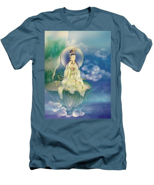 Men's T-Shirt (Slim Fit) featuring the photograph Sutra-holding Kuan Yin by Lanjee Chee