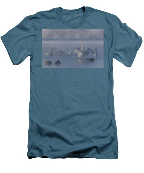 Men's T-Shirt (Slim Fit) featuring the photograph Swan Showing Off by Patti Deters