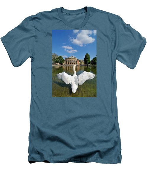 Swan Spreads Wings In Front Of State Theatre Stuttgart Germany Men's T-Shirt (Slim Fit) by Matthias Hauser