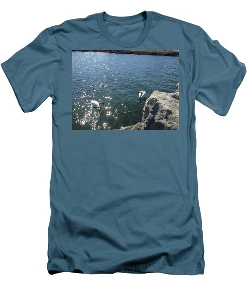 Swans And Sparkles Men's T-Shirt (Slim Fit) by Pema Hou
