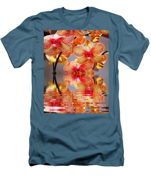 Men's T-Shirt (Slim Fit) featuring the photograph Sweet Orchid Reflection by Judy Palkimas