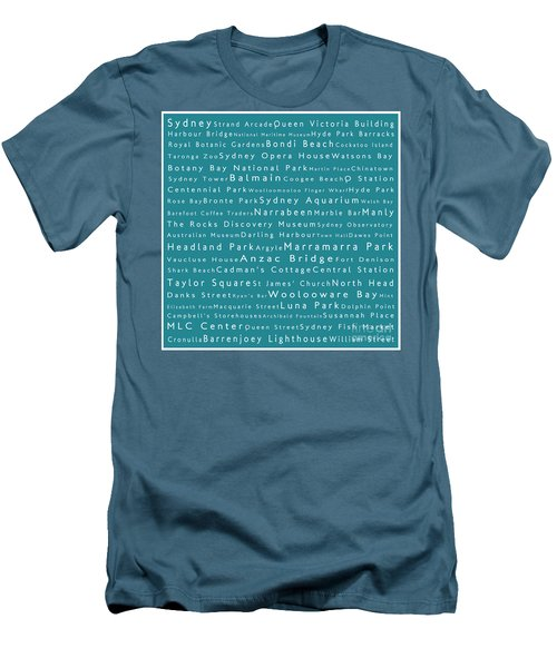 Sydney In Words Teal Men's T-Shirt (Athletic Fit)