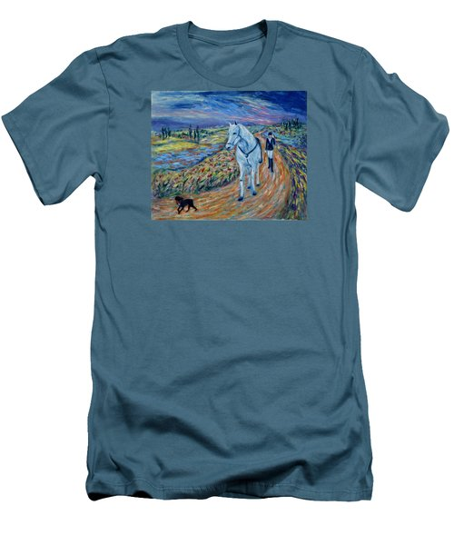 Men's T-Shirt (Athletic Fit) featuring the painting Take Me Home My Friend by Xueling Zou