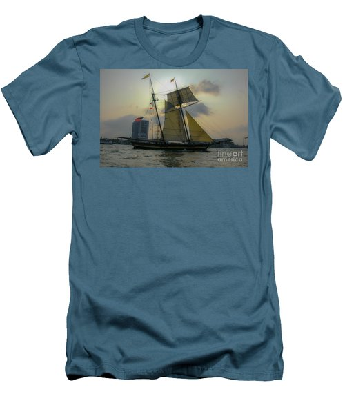 Men's T-Shirt (Slim Fit) featuring the photograph Tall Ship In Charleston by Dale Powell