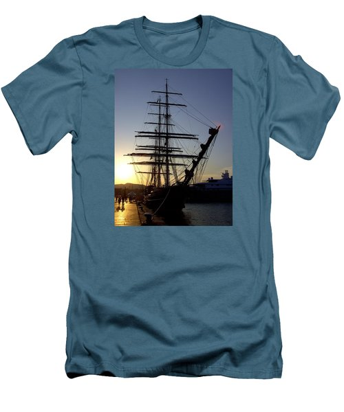 Tall Ship In Ibiza Town Men's T-Shirt (Athletic Fit)