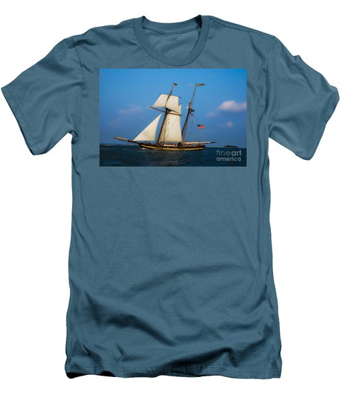 Tall Ships Over Charleston Men's T-Shirt (Slim Fit) by Dale Powell