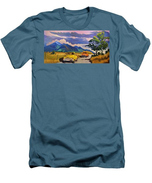 Men's T-Shirt (Slim Fit) featuring the painting Taos Joy Ride With Yellow And Orange Trucks by Art West