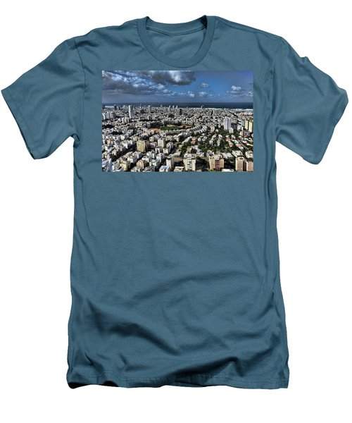 Men's T-Shirt (Slim Fit) featuring the photograph Tel Aviv Center by Ron Shoshani