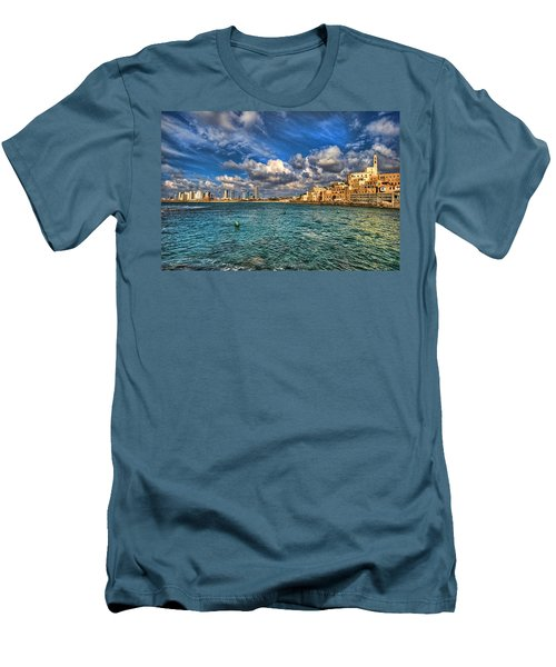 Tel Aviv Jaffa Shoreline Men's T-Shirt (Slim Fit) by Ron Shoshani