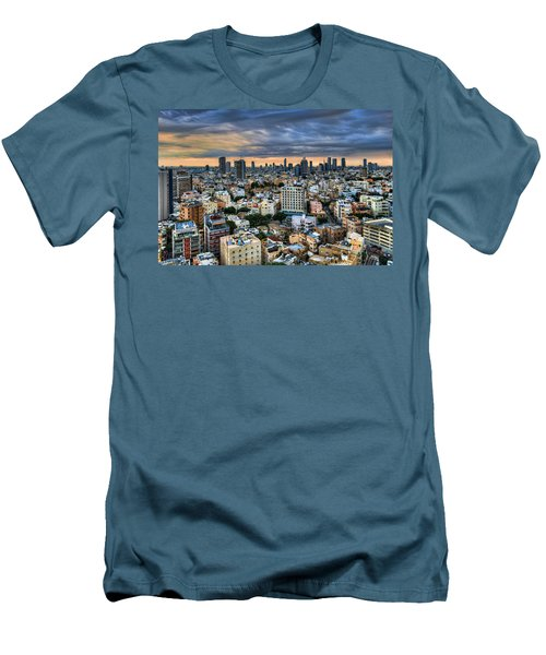 Men's T-Shirt (Slim Fit) featuring the photograph Tel Aviv Skyline Winter Time by Ron Shoshani