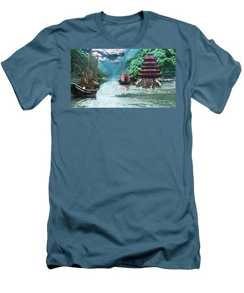 Temple On The Yangzte Men's T-Shirt (Athletic Fit)