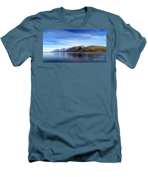 Tetons By The Lake Men's T-Shirt (Slim Fit) by Ausra Huntington nee Paulauskaite