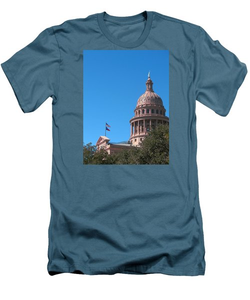 Texas State Capitol With Pediment Men's T-Shirt (Slim Fit) by Connie Fox