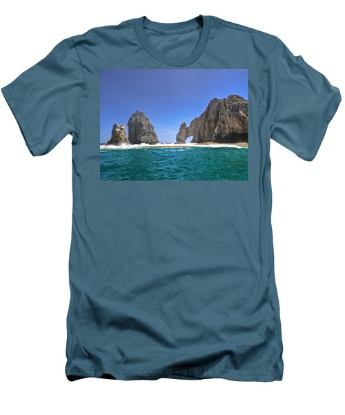 Men's T-Shirt (Slim Fit) featuring the photograph The Arch  Cabo San Lucas On A Low Tide by Eti Reid