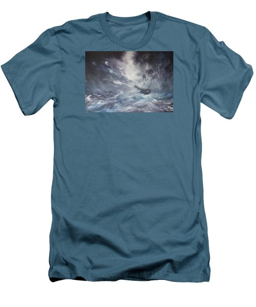 Men's T-Shirt (Slim Fit) featuring the painting The Endeavour On Stormy Seas by Jean Walker