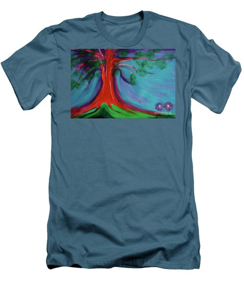 Men's T-Shirt (Slim Fit) featuring the painting The First Tree By Jrr by First Star Art