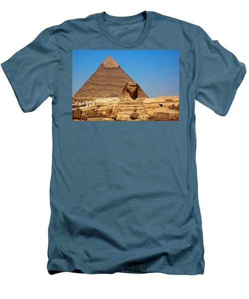 Men's T-Shirt (Slim Fit) featuring the photograph The Great Sphinx Of Giza And Pyramid Of Khafre by Joe  Ng