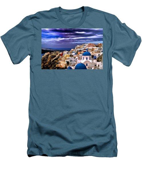 The Greek Isles Santorini Men's T-Shirt (Slim Fit) by Tom Prendergast