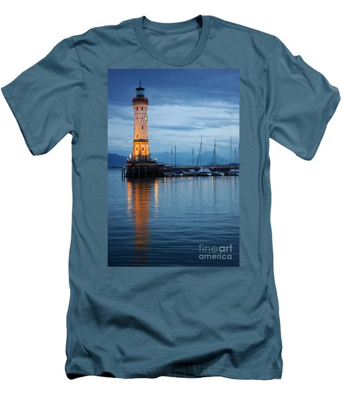 The Lighthouse Of Lindau By Night Men's T-Shirt (Slim Fit) by Nick  Biemans
