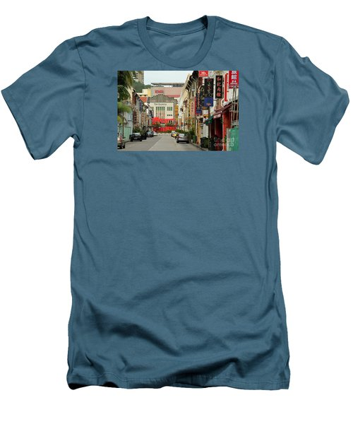 Men's T-Shirt (Slim Fit) featuring the photograph The Majestic Theater Chinatown Singapore by Imran Ahmed