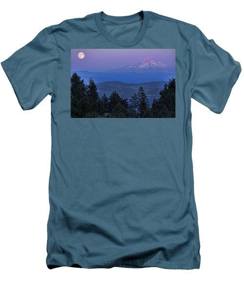 The Moon Beside Mt. Hood Men's T-Shirt (Slim Fit) by Don Schwartz