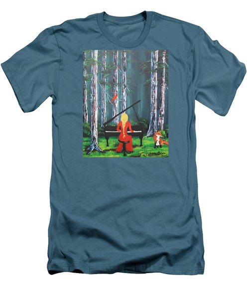 The Pianist In The Woods Men's T-Shirt (Slim Fit) by Patricia Olson