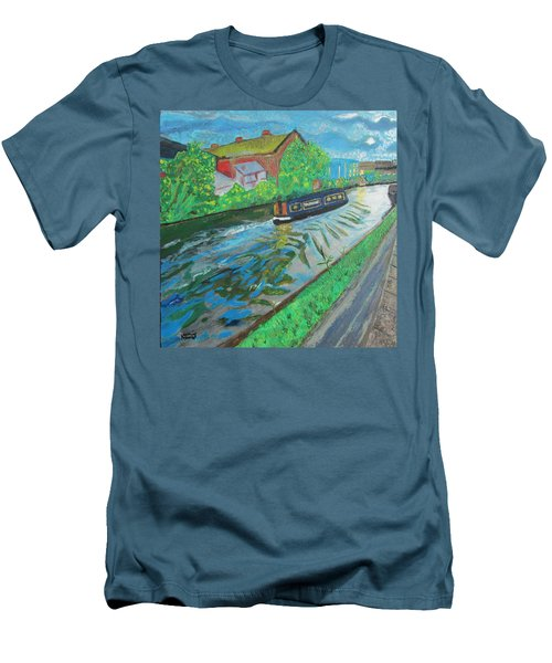 Men's T-Shirt (Slim Fit) featuring the painting The Pickle - Grand Union Canal by Mudiama Kammoh