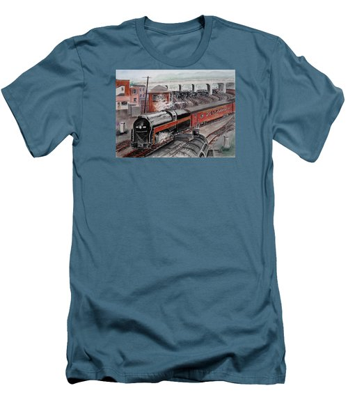 The Powhatan Arrow Roars Through The Yards Into Portmouth Men's T-Shirt (Slim Fit) by Frank Hunter