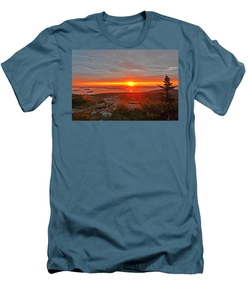 The Sunrise From Cadillac Mountain In Acadia National Park Men's T-Shirt (Athletic Fit)