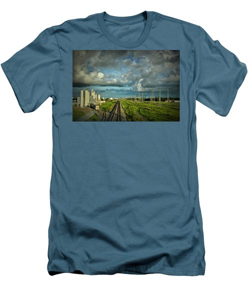 The Train Yard Men's T-Shirt (Slim Fit) by Linda Unger