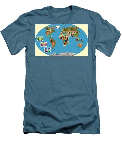 Three Monkeys And Hunger Men's T-Shirt (Slim Fit) by Zafer Gurel